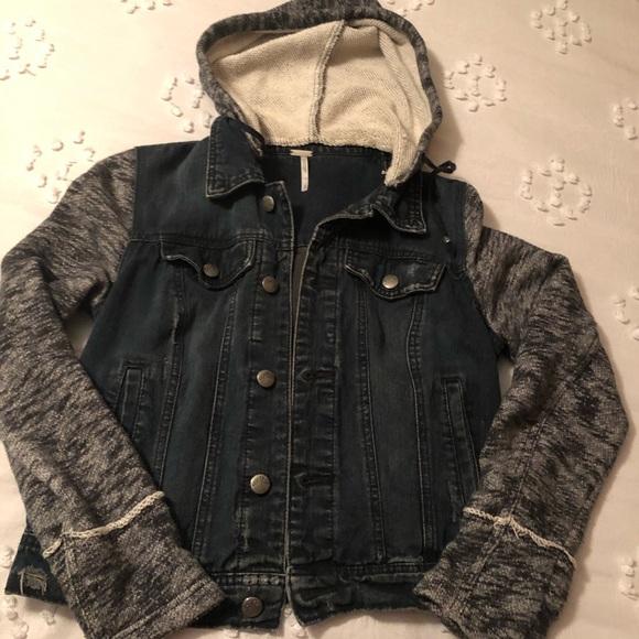 Free People Jackets & Blazers - Free People denim jacket with hood